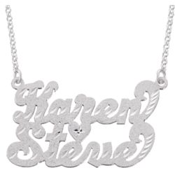 Sterling Silver Couples Diamond-cut Script Name Necklace