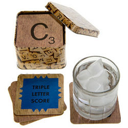 Scrabble Coasters in a Tin