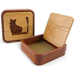 Yin-Yang Cats Wooden Keepsake Box