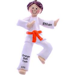 Orange Belt Karate Boy with Brown Hair Ornament