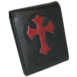 Leather Bifold Wallet with Red Cross