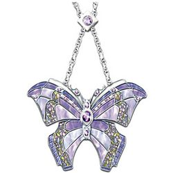 Era Of Louis Tiffany Style Amethyst Butterfly Necklace