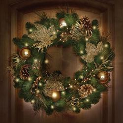 St. John's Wood Golden Cordless Holiday Wreath