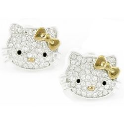 Kitty Crystal Stud Earrings with 14K Gold Bow