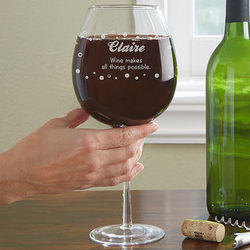 Big Vino Whole Bottle Personalized Wine Glass