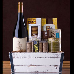 Wine with Gourmet Snacks and Candles Gift Basket