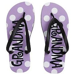 Personalized Lavender Polka Dot Flip Flops
