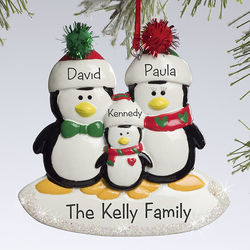Personalized Penguin Family Christmas Ornament