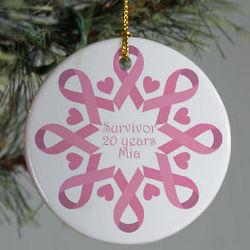 Personalized Pink Ribbon Snowflake Ornament