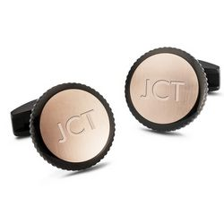 Black and Rose Gold Round Cuff Links