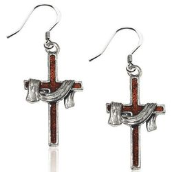 Cross with Shroud Charm Earrings in Silver