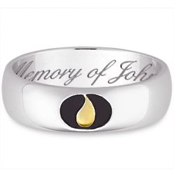 Sterling Silver Memorial Teardrop Engraved Message Band