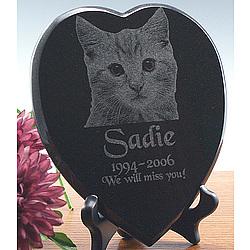 """6.5"""" Heart Shaped Diamond Black Granite Memorial"""