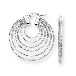 14K White Gold Geometric Curve Earrings