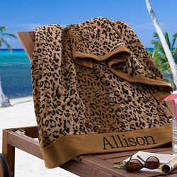 Cheetah Print Personalized Beach Towel