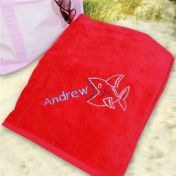 Kids Embroidered Shark Beach Towel