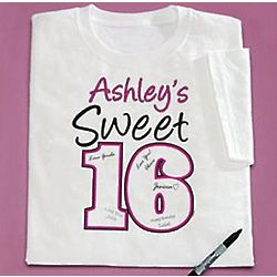 Personalized Sweet Sixteen Signature T-Shirt
