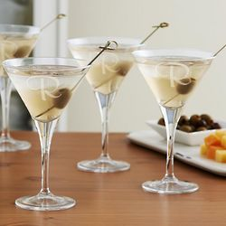 Personalized Initial Martini Glasses