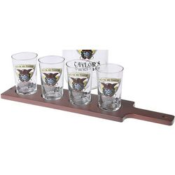 Pirate Personalized Bar Taster Paddle with 4 Glasses