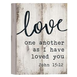 Love One Another Bible Verse Wood Art Plaque
