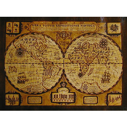 Antique Globes 1580 Leather Map in Natural with Rods