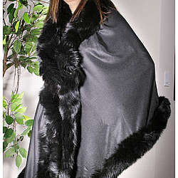 Pashmina Wrap with Fox Fur Trim