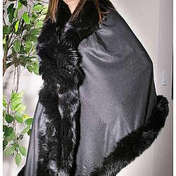 Pashmina Wrap with Fox Fur Trim