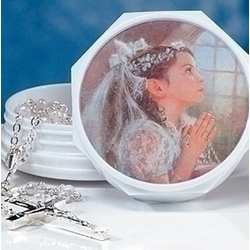 First Communion Rosary Set for a Girl
