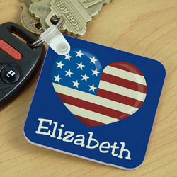 Stars and Stripes Personalized Key Chain