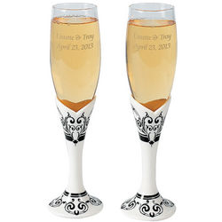 Personalized Black and White Toasting Flutes