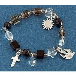 Memorial Story Bracelet with Black and Clear Beads