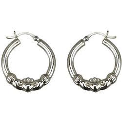 Sterling Silver Claddagh Hoop Earrings