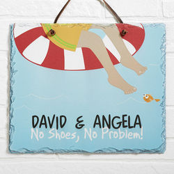 No Shoes No Problem Personalized Swimming Pool Sign