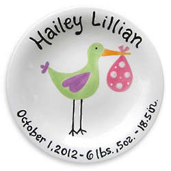 Girl's Personalized Just Arrived Stork Birth Plate