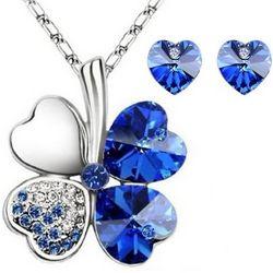 Lucky Sweethearts Gold Sapphire Blue Swarovski Jewelry Set