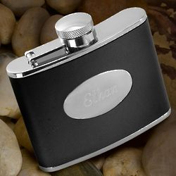 Personalized Stainless Steel Black Leather Flask