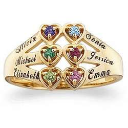 10 Karat Gold Family's Birthstone and Hearts Name Ring