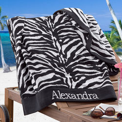 Zebra Print Personalized Beach Towel