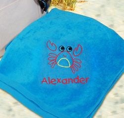 Personalized Embroidered Crab Beach Towel