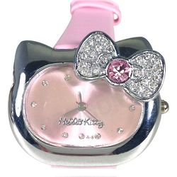 Kitty Stainless Steel Watch with Rhinestone Bow