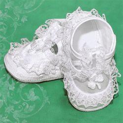 Girl's White Shamrock Baptism Shoes