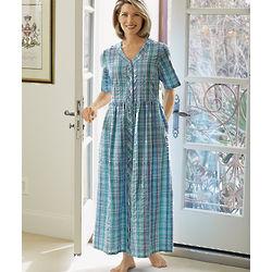 Seersucker Plaid Snap Dress