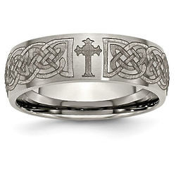 Men's Titanium Celtic-Knot and Cross Band