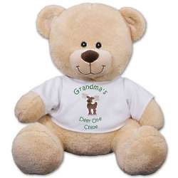 Christmas Sherman Teddy Bear in Personalized Reindeer T-Shirt
