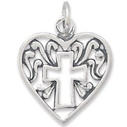Heart and Cross Sterling Silver Charm