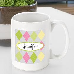 Personalized Argyle Coffee Mug