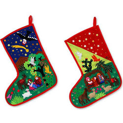 Applique Nativity Peruvian Christmas Stockings