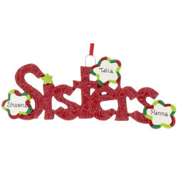 Personalized Two or Three Sisters Christmas Ornament