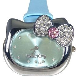 Blue Kitty Stainless Steel Watch with Rhinestone Bow