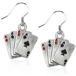 Aces Charm Earrings in Silver